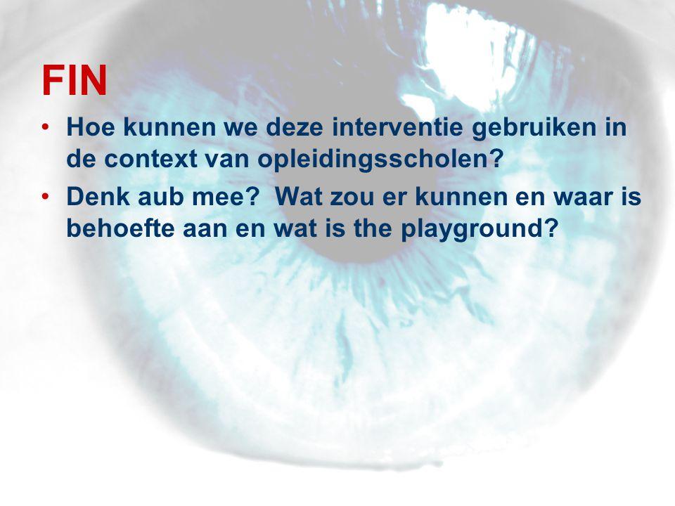 FIN •Hoe kunnen we deze interventie gebruiken in de context van opleidingsscholen.