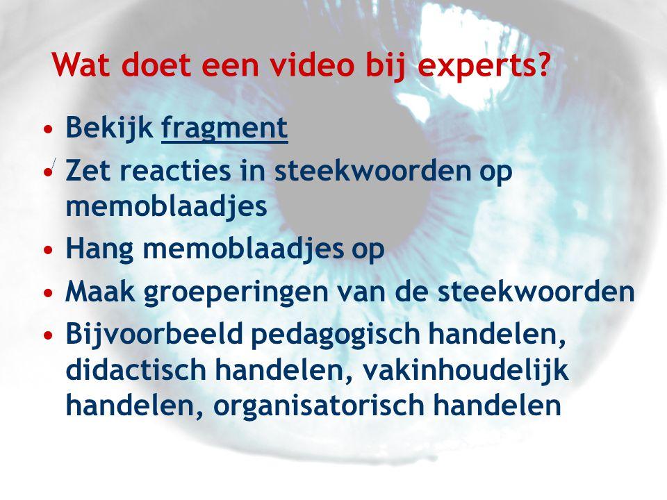 Wat doet een video bij experts.