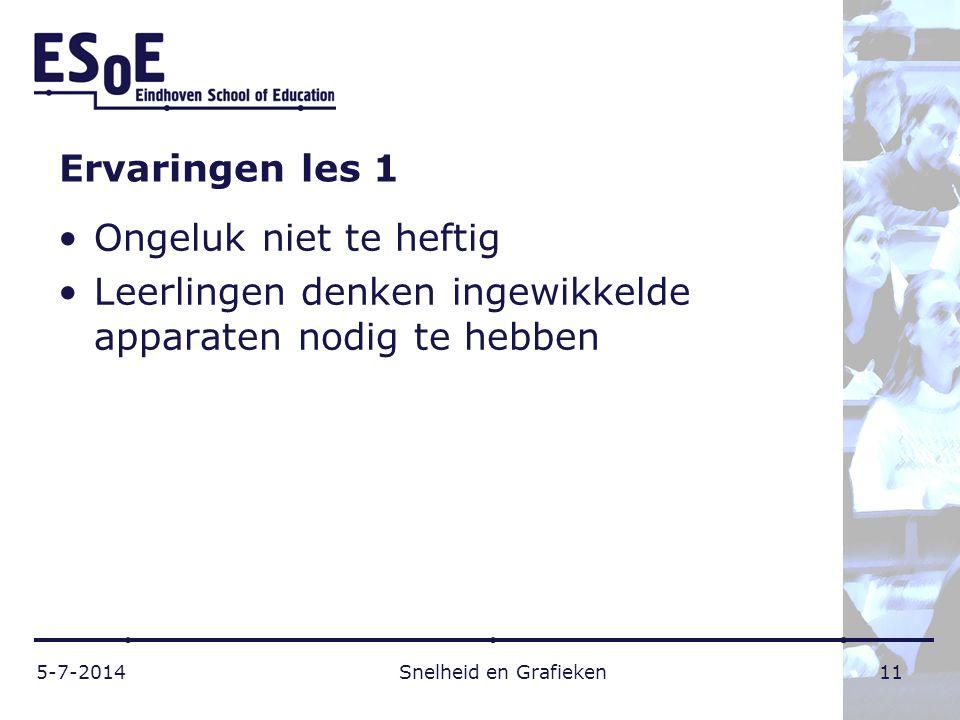 Ervaringen les 1 •Ongeluk niet te heftig •Leerlingen denken ingewikkelde apparaten nodig te hebben 5-7-2014 Snelheid en Grafieken 11