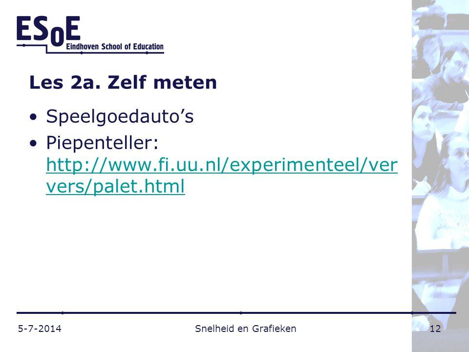 Les 2a. Zelf meten •Speelgoedauto's •Piepenteller: http://www.fi.uu.nl/experimenteel/ver vers/palet.html http://www.fi.uu.nl/experimenteel/ver vers/pa