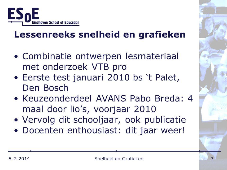 Lessenreeks snelheid en grafieken •Combinatie ontwerpen lesmateriaal met onderzoek VTB pro •Eerste test januari 2010 bs 't Palet, Den Bosch •Keuzeonde