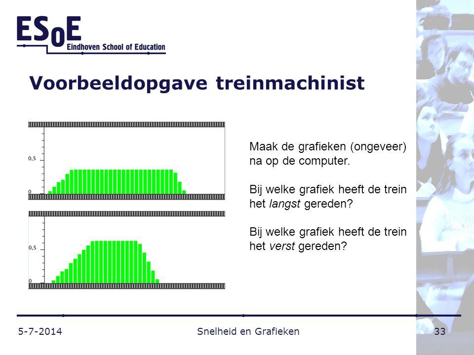 Voorbeeldopgave treinmachinist 5-7-2014 Snelheid en Grafieken 33 Maak de grafieken (ongeveer) na op de computer. Bij welke grafiek heeft de trein het