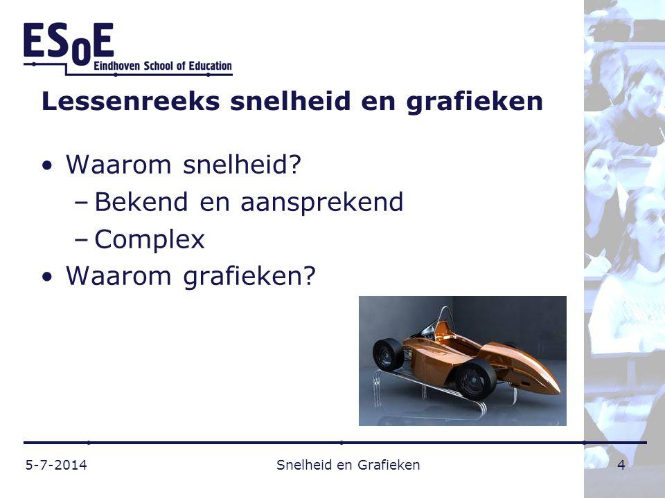 Lessenreeks snelheid en grafieken •Waarom snelheid? –Bekend en aansprekend –Complex •Waarom grafieken? 5-7-2014 Snelheid en Grafieken 4
