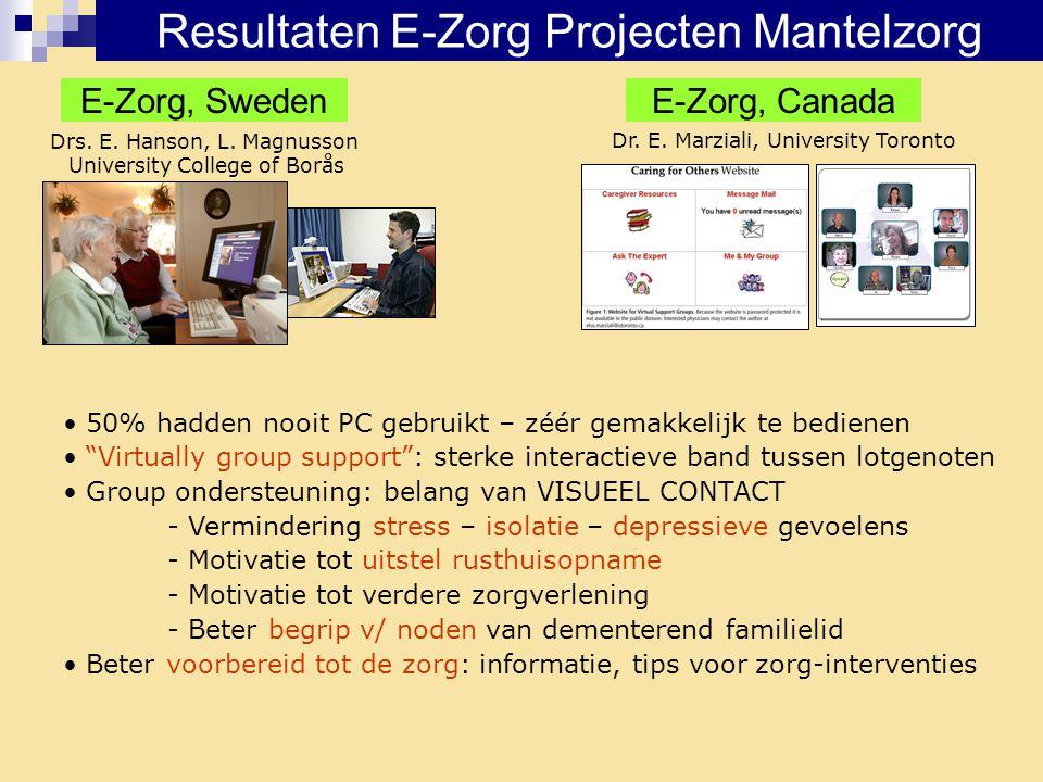 Resultaten E-Zorg Projecten Mantelzorg E-Zorg, SwedenE-Zorg, Canada Drs. E. Hanson, L. Magnusson University College of Borås Dr. E. Marziali, Universi