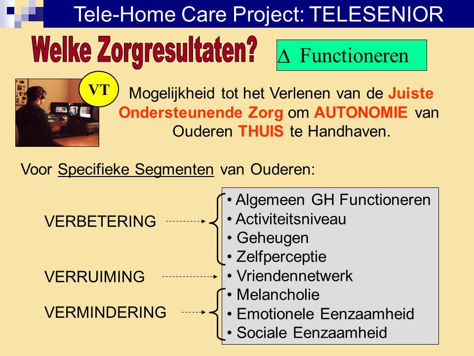 Functioneren VT Mogelijkheid tot het Verlenen van de Juiste Ondersteunende Zorg om AUTONOMIE van Ouderen THUIS te Handhaven. Voor Specifieke Segmenten