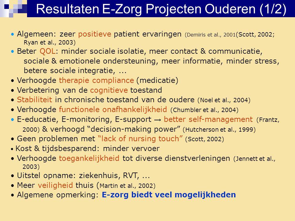 Resultaten E-Zorg Projecten Ouderen (1/2) • Algemeen: zeer positieve patient ervaringen (Demiris et al., 2001 (Scott, 2002; Ryan et al., 2003) • Beter