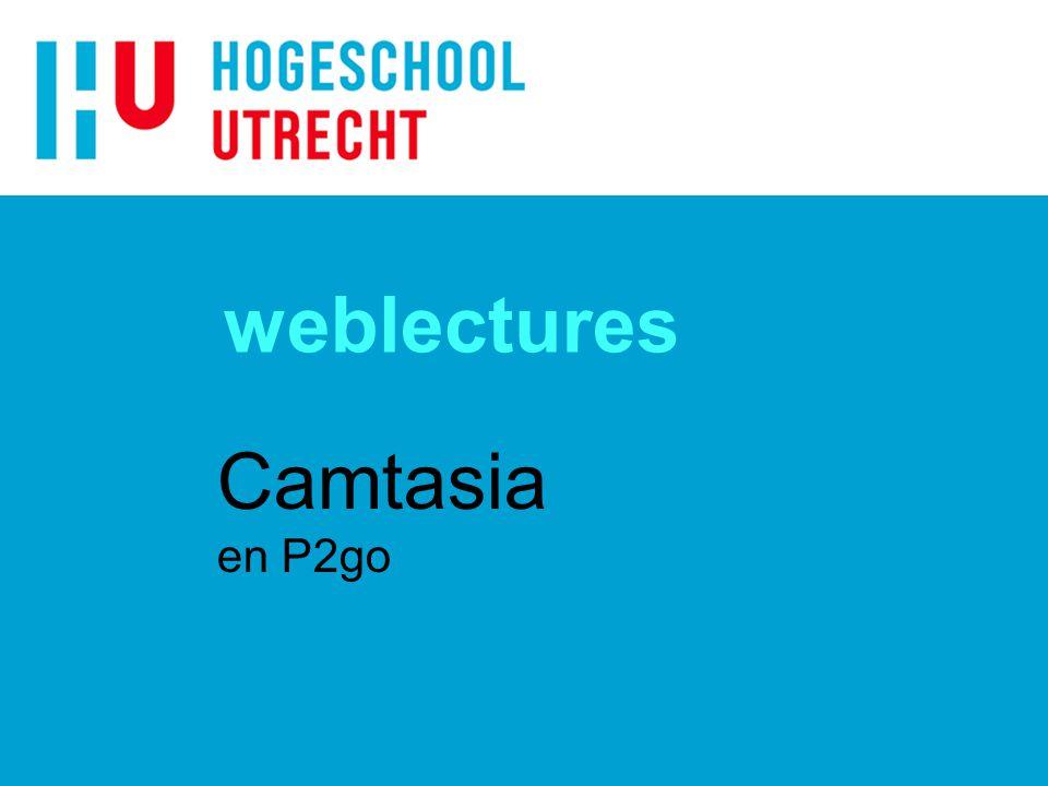 Weblectures Camtasia met camera ondersteuning (alleen FG) n Opname reserveren / digitaal formulier n Mobiele apparatuur n AVC = Camerateam (Stagiair) n Geen doorberekening (AVC budget) n Na opname postprocessing + hosting door AVC.