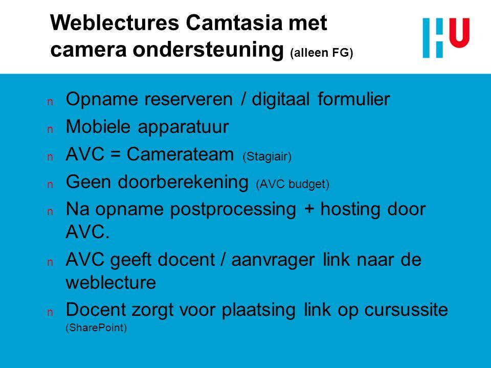 Weblectures Camtasia met camera ondersteuning (alleen FG) n Opname reserveren / digitaal formulier n Mobiele apparatuur n AVC = Camerateam (Stagiair)