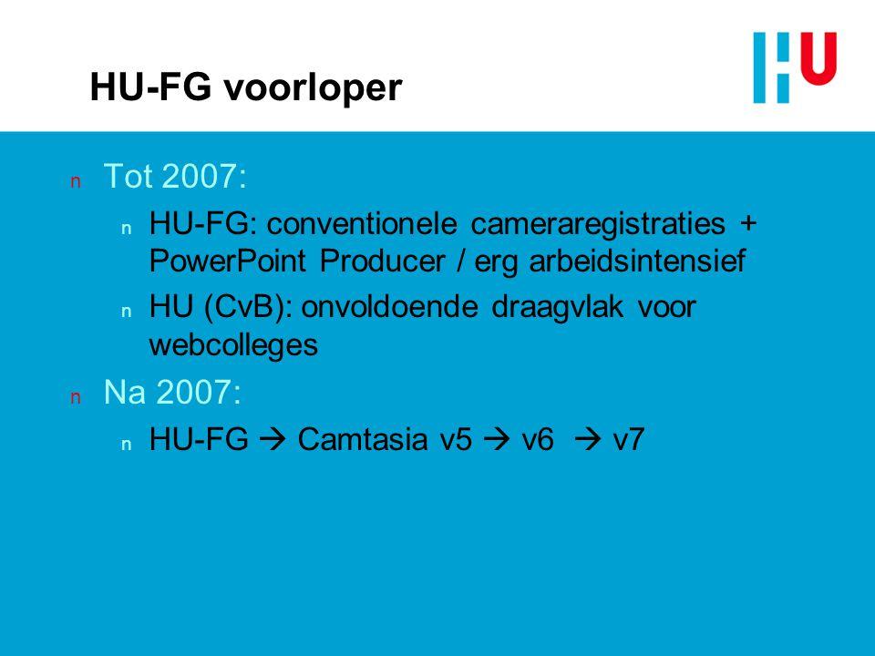 HU-FG voorloper n Tot 2007: n HU-FG: conventionele cameraregistraties + PowerPoint Producer / erg arbeidsintensief n HU (CvB): onvoldoende draagvlak v