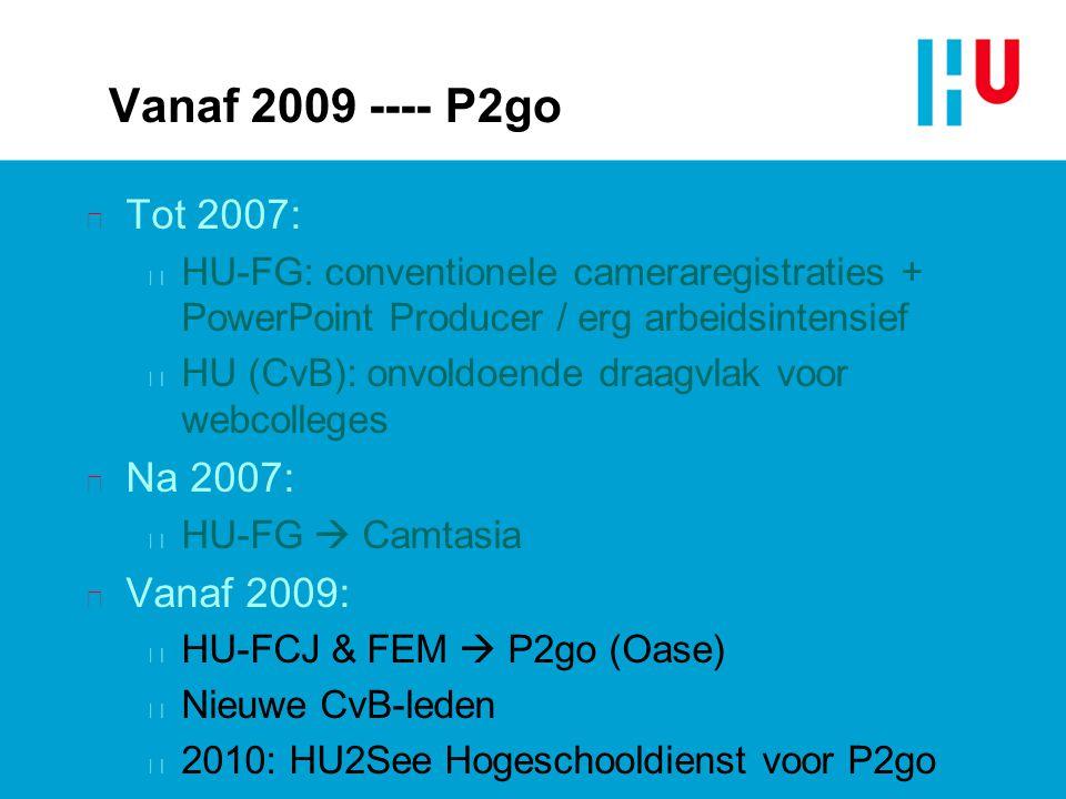 Vanaf 2009 ---- P2go n Tot 2007: n HU-FG: conventionele cameraregistraties + PowerPoint Producer / erg arbeidsintensief n HU (CvB): onvoldoende draagv