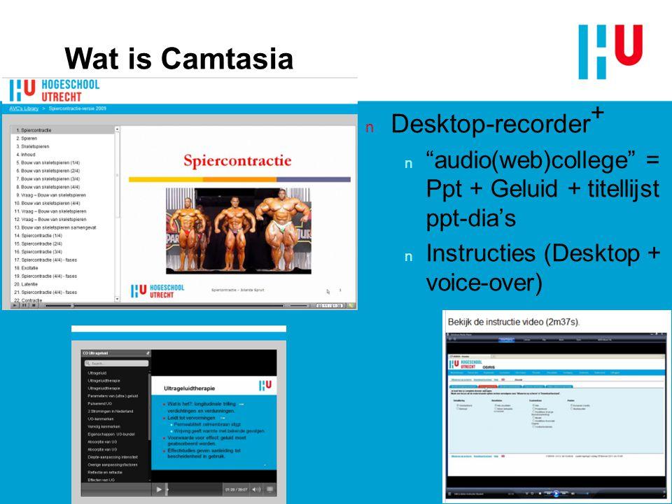 HU-FG voorloper n Tot 2007: n HU-FG: conventionele cameraregistraties + PowerPoint Producer / erg arbeidsintensief n HU (CvB): onvoldoende draagvlak voor webcolleges n Na 2007: n HU-FG  Camtasia v5  v6  v7