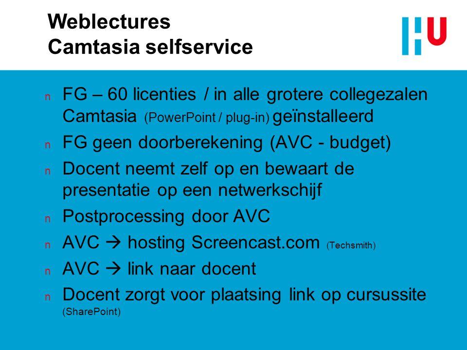 Weblectures Camtasia selfservice n FG – 60 licenties / in alle grotere collegezalen Camtasia (PowerPoint / plug-in) geïnstalleerd n FG geen doorbereke