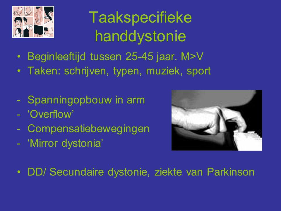 Taakspecifieke handdystonie •Beginleeftijd tussen 25-45 jaar. M>V •Taken: schrijven, typen, muziek, sport -Spanningopbouw in arm -'Overflow' -Compensa