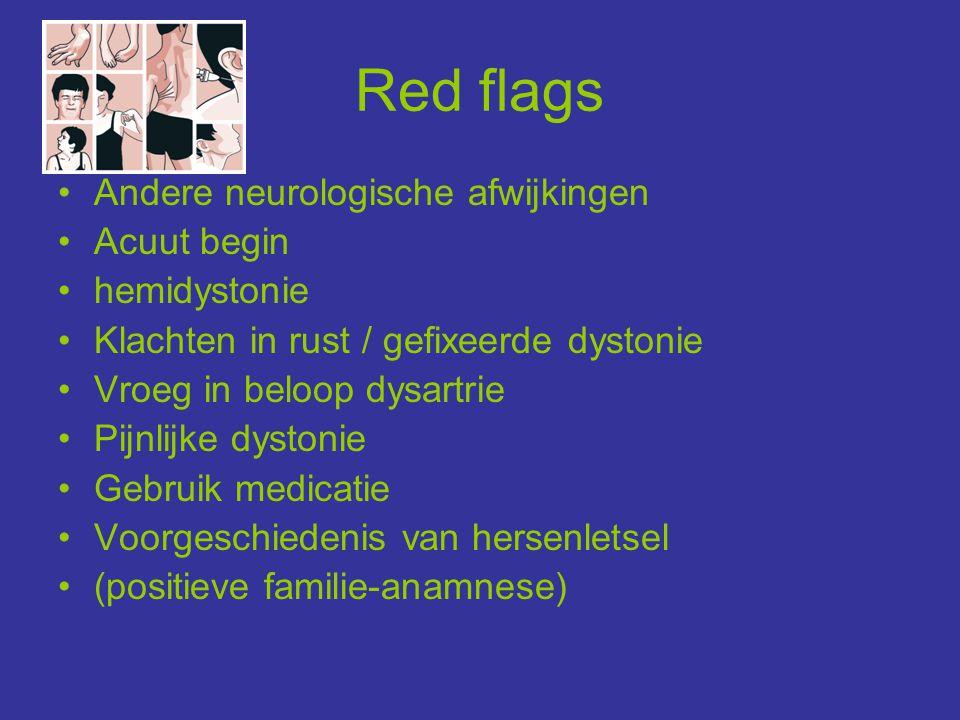Red flags •Andere neurologische afwijkingen •Acuut begin •hemidystonie •Klachten in rust / gefixeerde dystonie •Vroeg in beloop dysartrie •Pijnlijke d