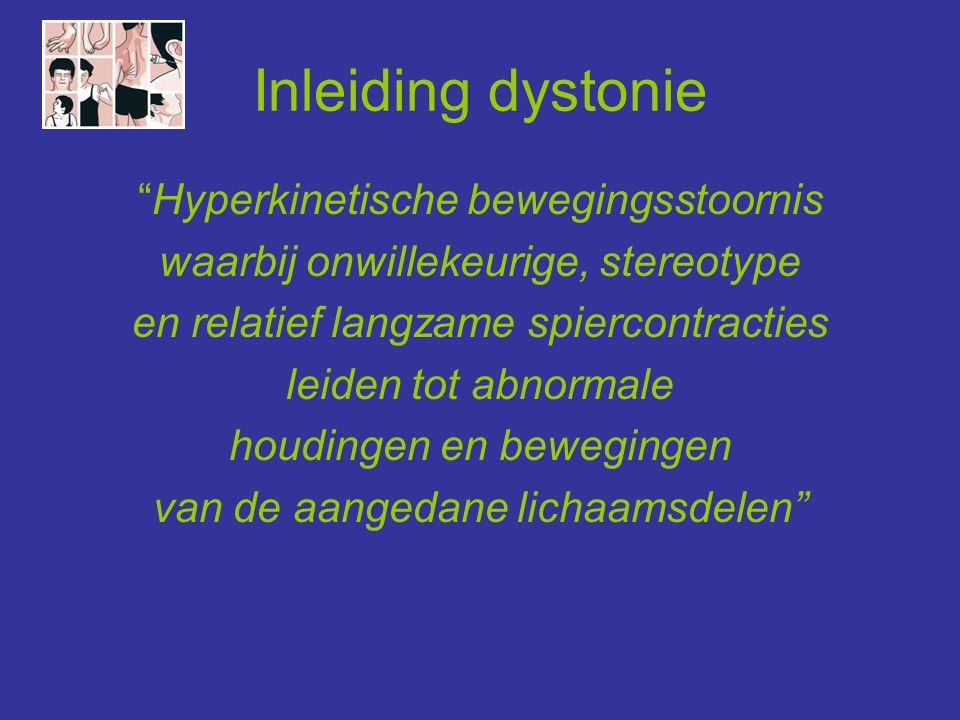 Secundaire dystonie: neurodegeneratief hereditair dominante/ recessieve cerebellaire ataxie Neuroacanthocytose zkte van Huntingtonlysosomale stapelingsziekten zkte van Wilsonmitochondriale aandoeningen Neuroferritinopathieziekten van Leber en van Leigh PANK2-geassocieerde neurodegeneratie Lubag dystonie-parkinsonism genetische parkinsonismenglutaaracidurie type I syndroom van Lesch-Nyhanfamiliaire calcinose van de basale ganglia