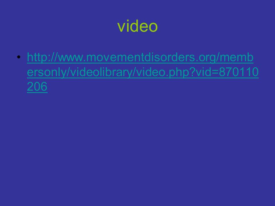video •http://www.movementdisorders.org/memb ersonly/videolibrary/video.php?vid=870110 206http://www.movementdisorders.org/memb ersonly/videolibrary/v