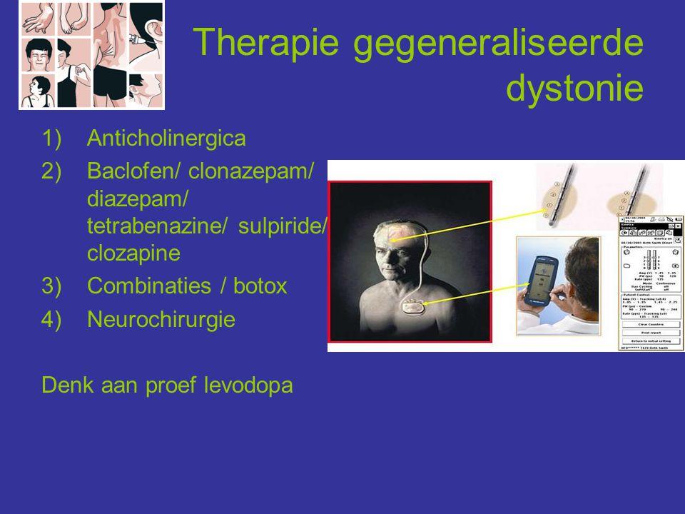 Therapie gegeneraliseerde dystonie 1)Anticholinergica 2)Baclofen/ clonazepam/ diazepam/ tetrabenazine/ sulpiride/ clozapine 3)Combinaties / botox 4)Ne