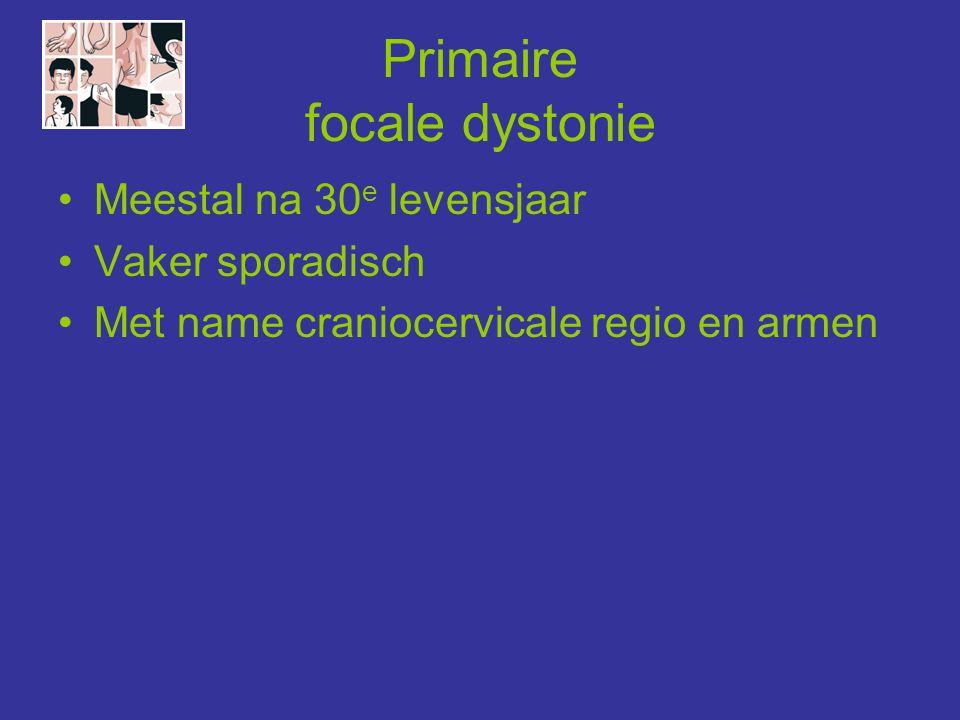Dystonie-plus-syndromen 1) Myoclonus dystonie: (DYT11) -10-20 e jaar: nek/romp/armen -Psychiatrische verschijnselen 2) Dopa-responsieve dystonie: (DYT5) -< 10 e jaar: beginnend in voet, later gegeneraliseerd -Dagfluctuatie -Parkinsonisme en levendige reflexen -Levodopa-respons DD/ Primaire gegeneraliseerde dystonie 3) Rapid-onset-dystonia-parkinsonisme: (DYT12) -Puberteit/ jongvolwassenheid -Ontstaat binnen enkele uren/ weken