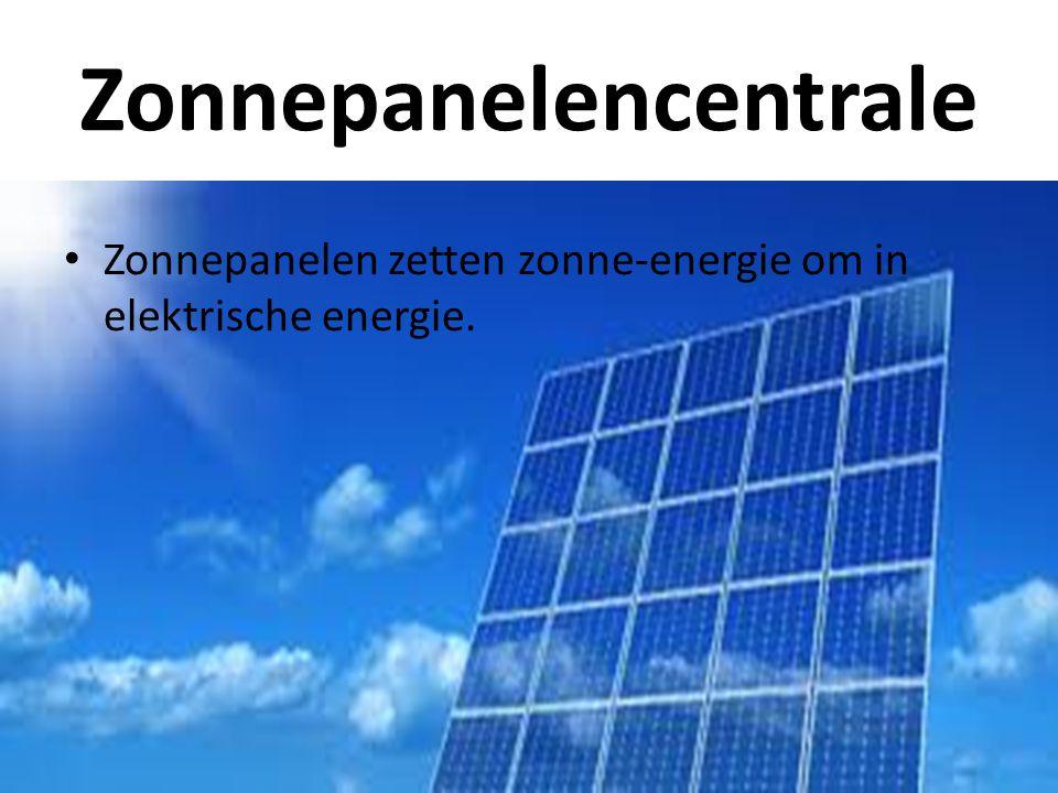 Zonnepanelencentrale • Zonnepanelen zetten zonne-energie om in elektrische energie.