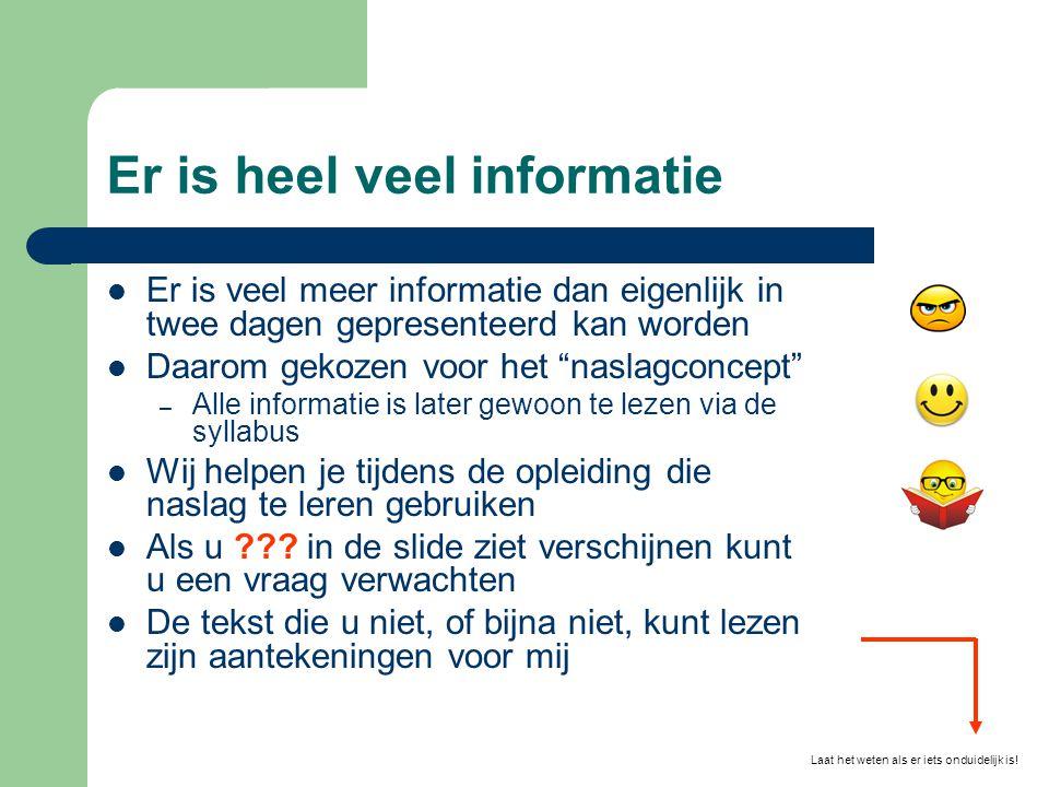 """Er is heel veel informatie  Er is veel meer informatie dan eigenlijk in twee dagen gepresenteerd kan worden  Daarom gekozen voor het """"naslagconcept"""""""