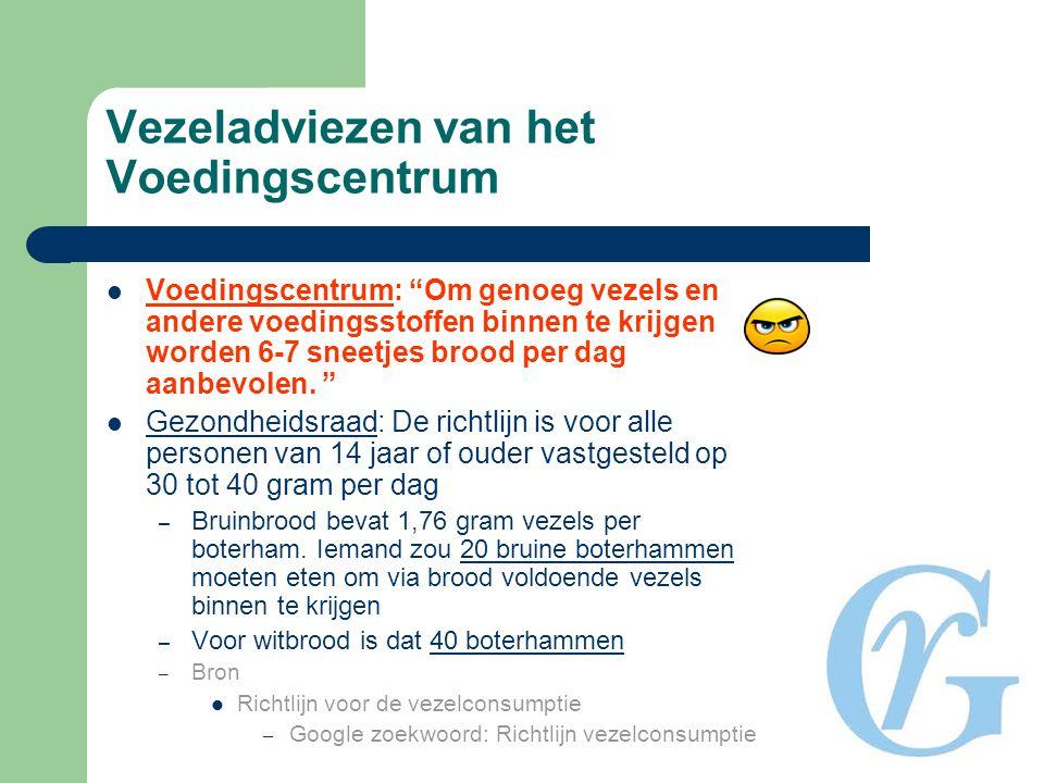 """Vezeladviezen van het Voedingscentrum  Voedingscentrum: """"Om genoeg vezels en andere voedingsstoffen binnen te krijgen worden 6-7 sneetjes brood per d"""