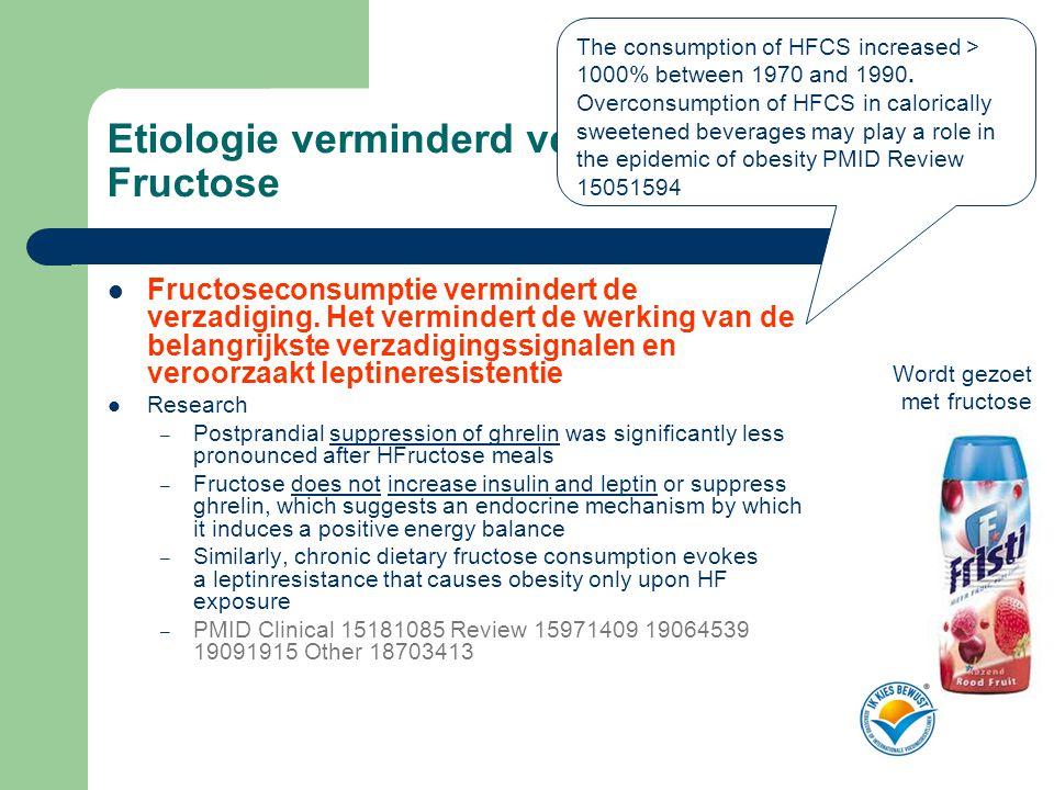 Etiologie verminderd verzadigingsgevoel Fructose  Fructoseconsumptie vermindert de verzadiging. Het vermindert de werking van de belangrijkste verzad