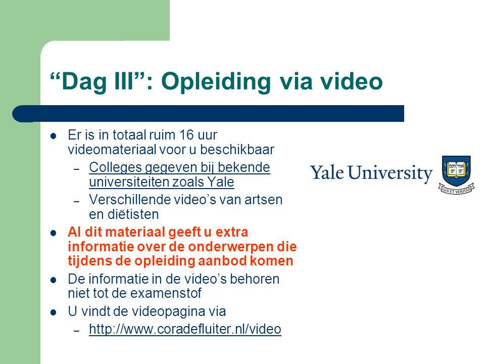 """""""Dag III"""": Opleiding via video  Er is in totaal ruim 16 uur videomateriaal voor u beschikbaar – Colleges gegeven bij bekende universiteiten zoals Yal"""