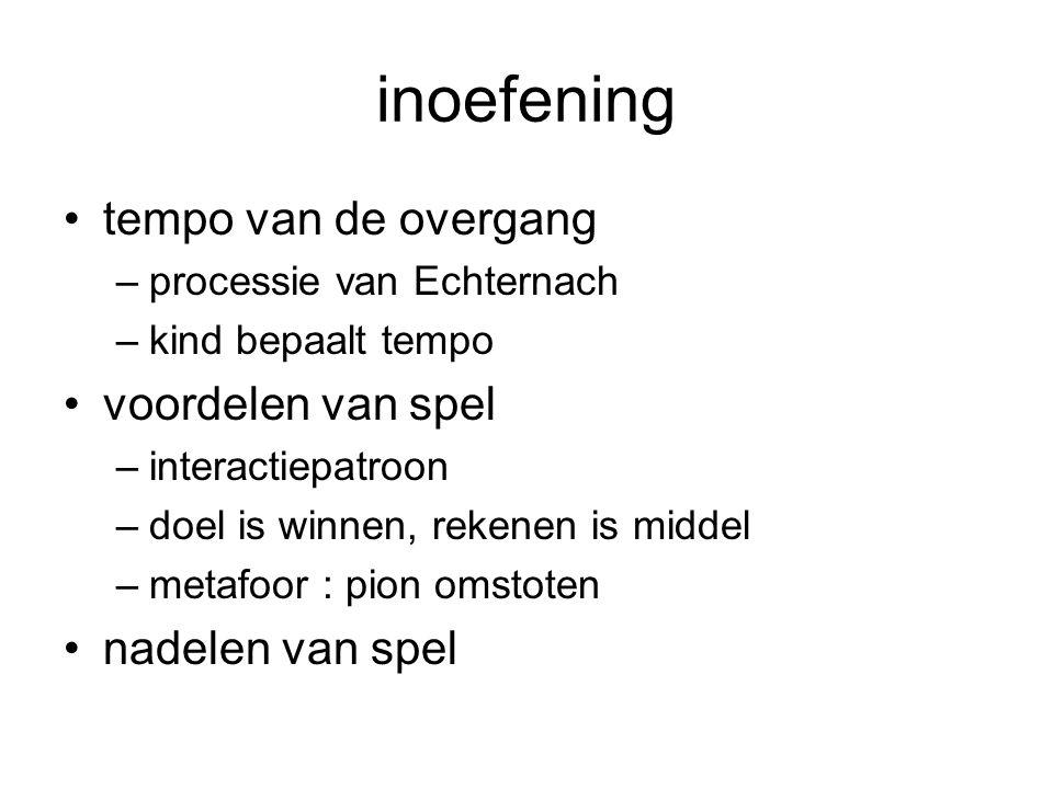 inoefening •tempo van de overgang –processie van Echternach –kind bepaalt tempo •voordelen van spel –interactiepatroon –doel is winnen, rekenen is middel –metafoor : pion omstoten •nadelen van spel