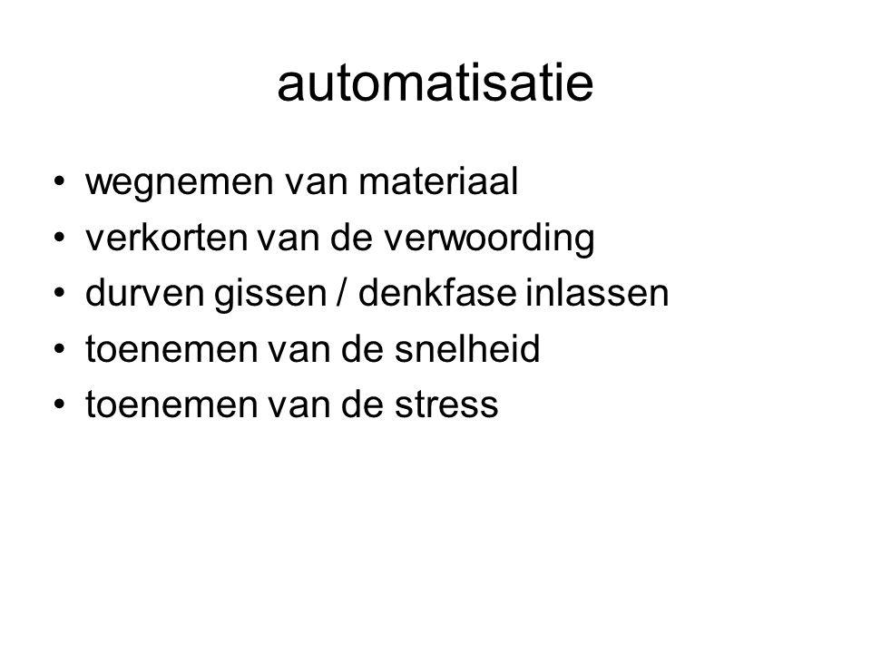 automatisatie •wegnemen van materiaal •verkorten van de verwoording •durven gissen / denkfase inlassen •toenemen van de snelheid •toenemen van de stress