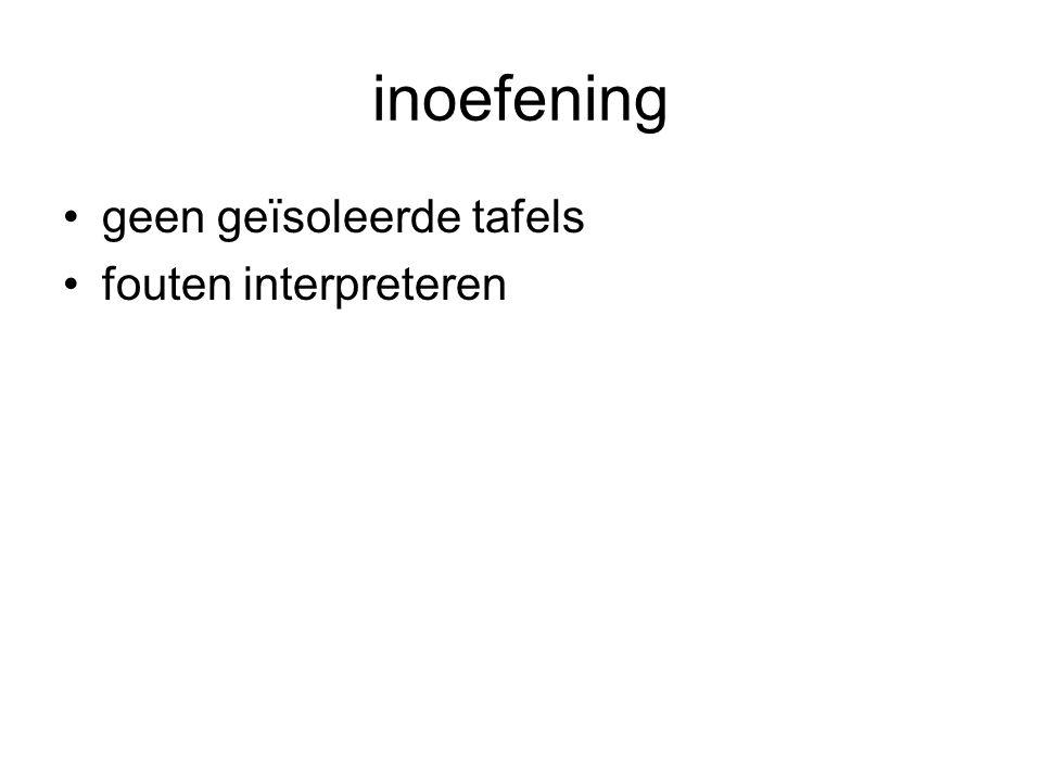 inoefening •geen geïsoleerde tafels •fouten interpreteren