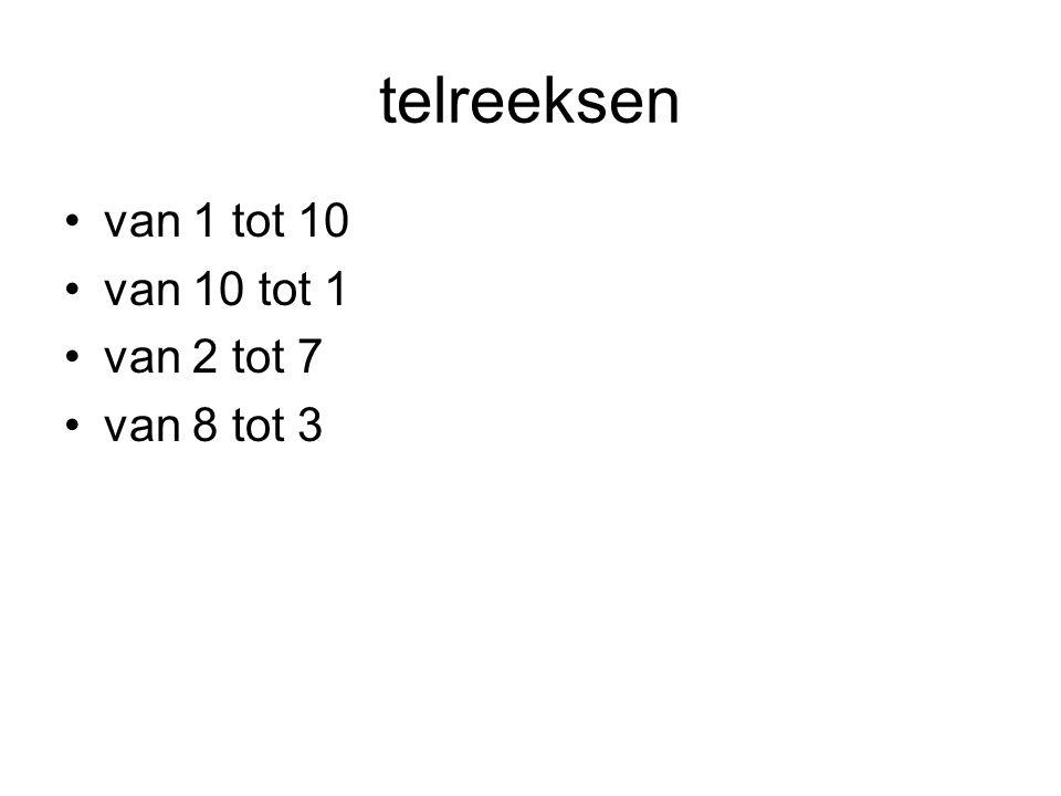 telreeksen •van 1 tot 10 •van 10 tot 1 •van 2 tot 7 •van 8 tot 3