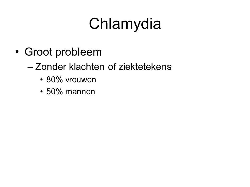 Chlamydia •Groot probleem –Zonder klachten of ziektetekens •80% vrouwen •50% mannen