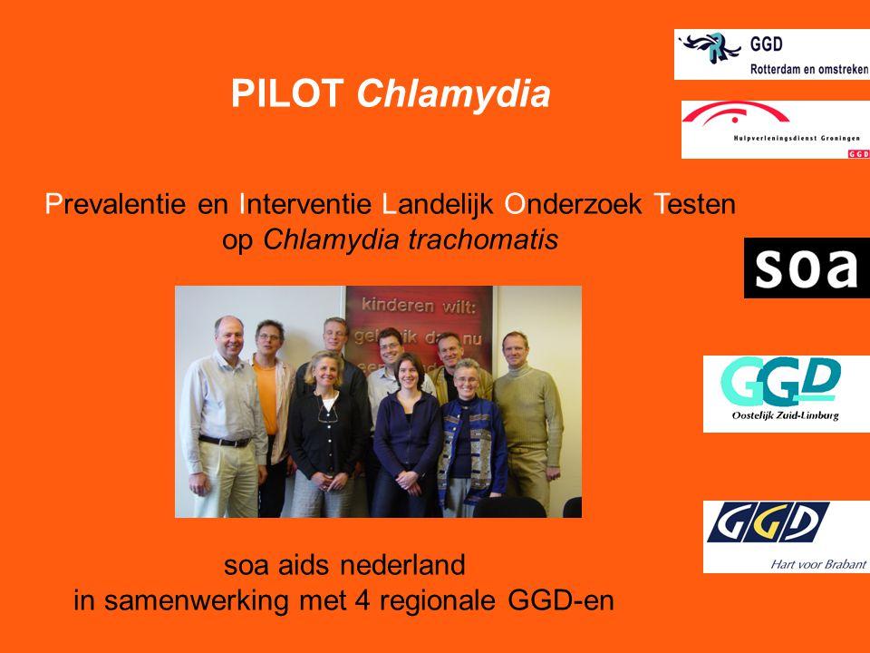 soa aids nederland in samenwerking met 4 regionale GGD-en PILOT Chlamydia Prevalentie en Interventie Landelijk Onderzoek Testen op Chlamydia trachomat