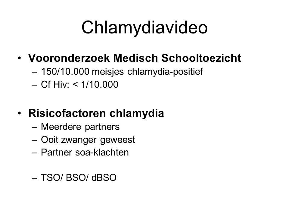 Chlamydiavideo •Vooronderzoek Medisch Schooltoezicht –150/10.000 meisjes chlamydia-positief –Cf Hiv: < 1/10.000 •Risicofactoren chlamydia –Meerdere pa