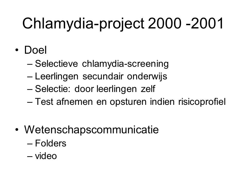 Chlamydia-project 2000 -2001 •Doel –Selectieve chlamydia-screening –Leerlingen secundair onderwijs –Selectie: door leerlingen zelf –Test afnemen en op