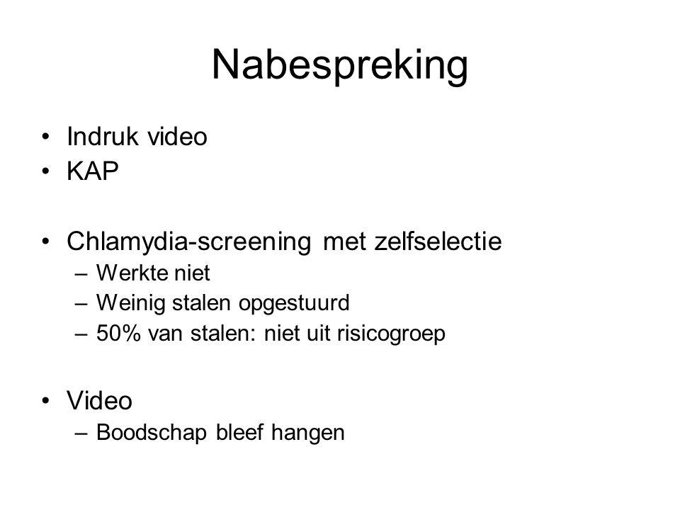Nabespreking •Indruk video •KAP •Chlamydia-screening met zelfselectie –Werkte niet –Weinig stalen opgestuurd –50% van stalen: niet uit risicogroep •Vi