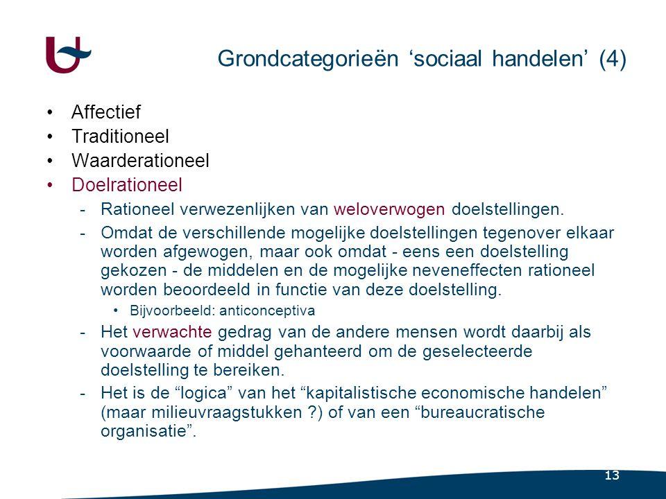 13 Grondcategorieën 'sociaal handelen' (4) •Affectief •Traditioneel •Waarderationeel •Doelrationeel -Rationeel verwezenlijken van weloverwogen doelstellingen.