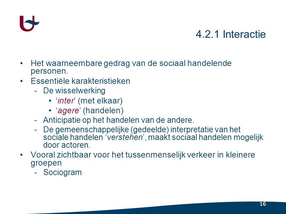 16 4.2.1 Interactie •Het waarneembare gedrag van de sociaal handelende personen.