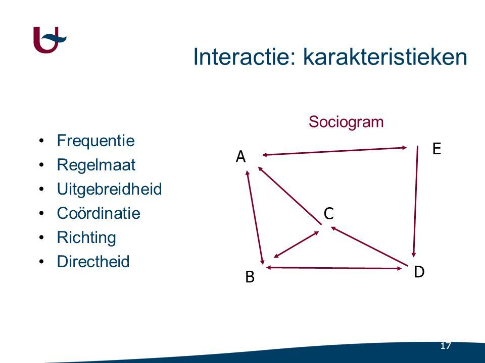 17 Interactie: karakteristieken •Frequentie •Regelmaat •Uitgebreidheid •Coördinatie •Richting •Directheid A B C D E Sociogram