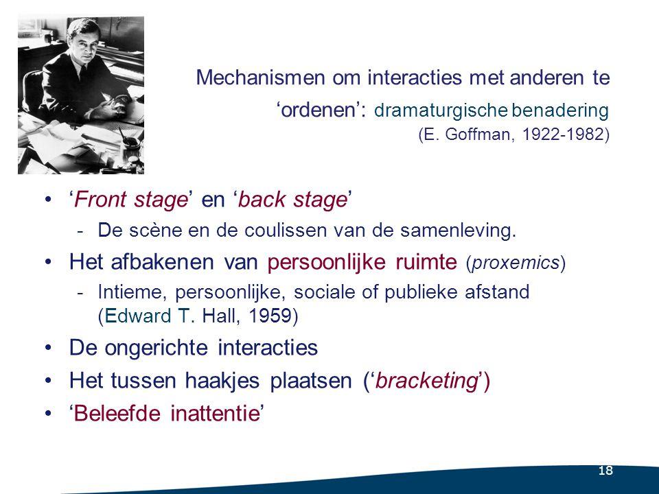 18 Mechanismen om interacties met anderen te 'ordenen': dramaturgische benadering (E.