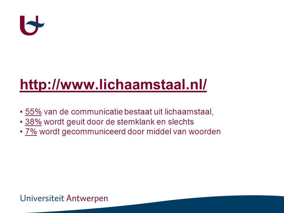 http://www.lichaamstaal.nl/ • 55% van de communicatie bestaat uit lichaamstaal,55% • 38% wordt geuit door de stemklank en slechts38% • 7% wordt gecommuniceerd door middel van woorden7%