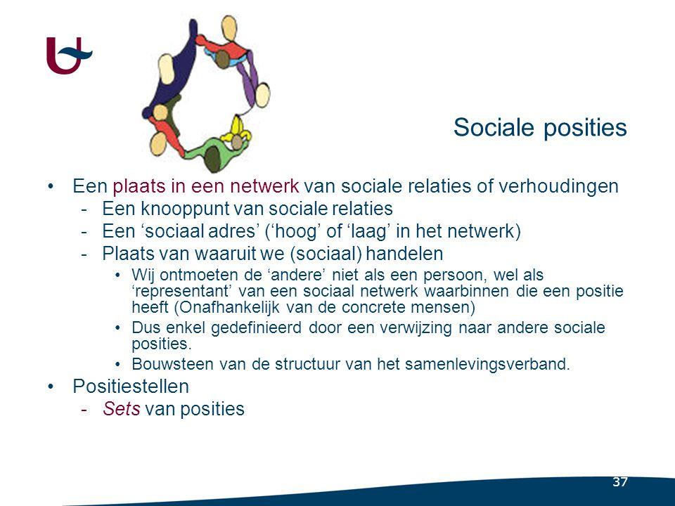 37 Sociale posities •Een plaats in een netwerk van sociale relaties of verhoudingen -Een knooppunt van sociale relaties -Een 'sociaal adres' ('hoog' of 'laag' in het netwerk) -Plaats van waaruit we (sociaal) handelen •Wij ontmoeten de 'andere' niet als een persoon, wel als 'representant' van een sociaal netwerk waarbinnen die een positie heeft (Onafhankelijk van de concrete mensen) •Dus enkel gedefinieerd door een verwijzing naar andere sociale posities.