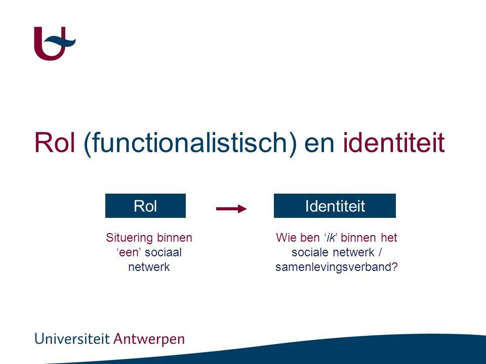 Rol (functionalistisch) en identiteit RolIdentiteit Situering binnen 'een' sociaal netwerk Wie ben 'ik' binnen het sociale netwerk / samenlevingsverband?