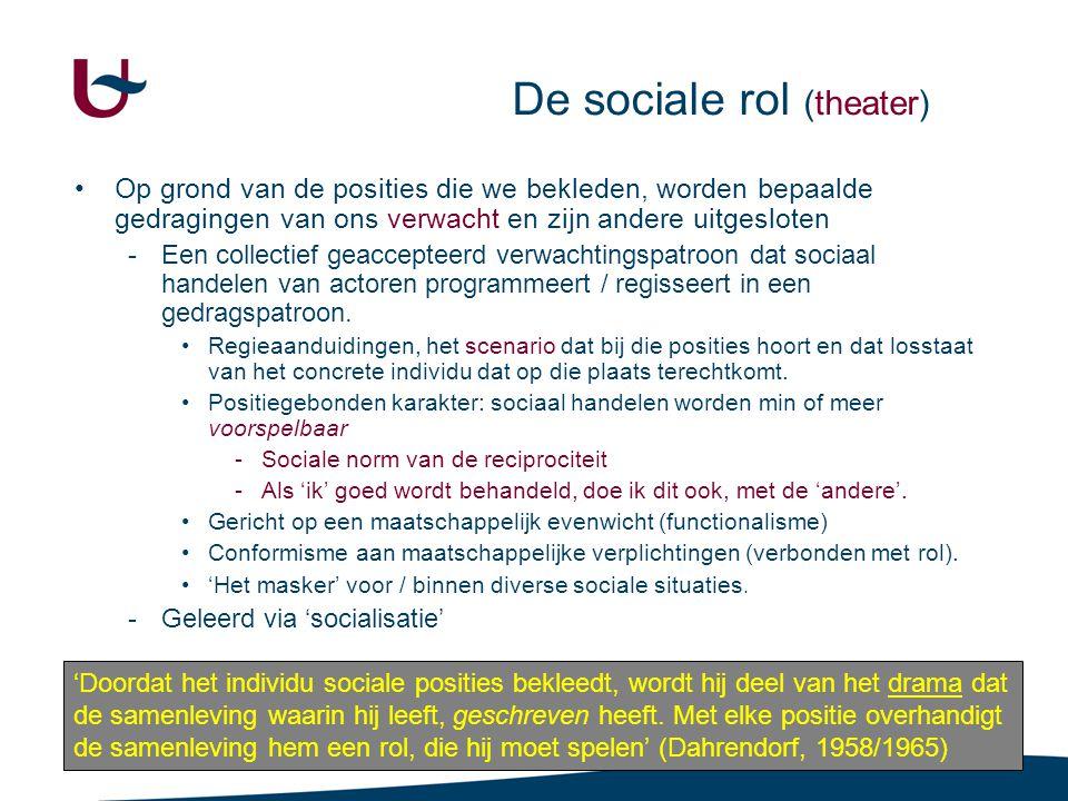 47 De sociale rol (theater) •Op grond van de posities die we bekleden, worden bepaalde gedragingen van ons verwacht en zijn andere uitgesloten -Een collectief geaccepteerd verwachtingspatroon dat sociaal handelen van actoren programmeert / regisseert in een gedragspatroon.