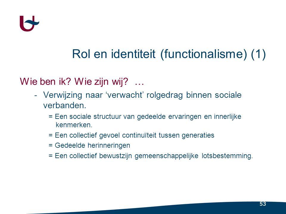 53 Rol en identiteit (functionalisme) (1) Wie ben ik.