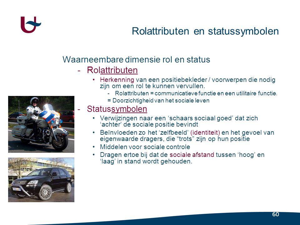 60 Rolattributen en statussymbolen Waarneembare dimensie rol en status -Rolattributen •Herkenning van een positiebekleder / voorwerpen die nodig zijn om een rol te kunnen vervullen.