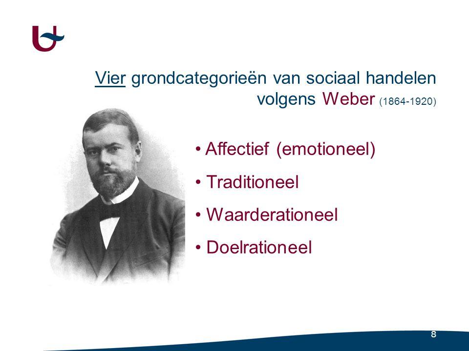 8 Vier grondcategorieën van sociaal handelen volgens Weber (1864-1920) • Affectief (emotioneel) • Traditioneel • Waarderationeel • Doelrationeel
