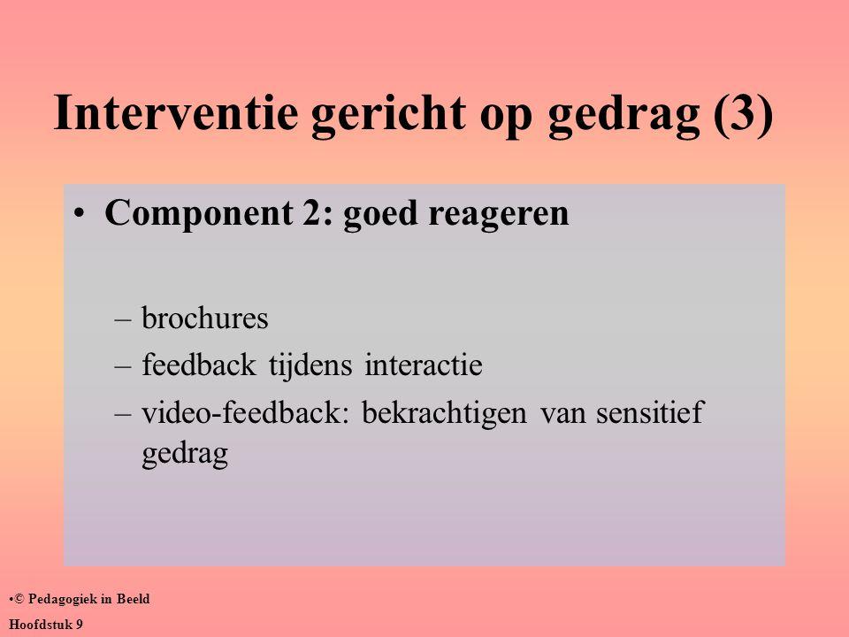 Interventie gericht op gedrag (3) •Component 2: goed reageren –brochures –feedback tijdens interactie –video-feedback: bekrachtigen van sensitief gedr