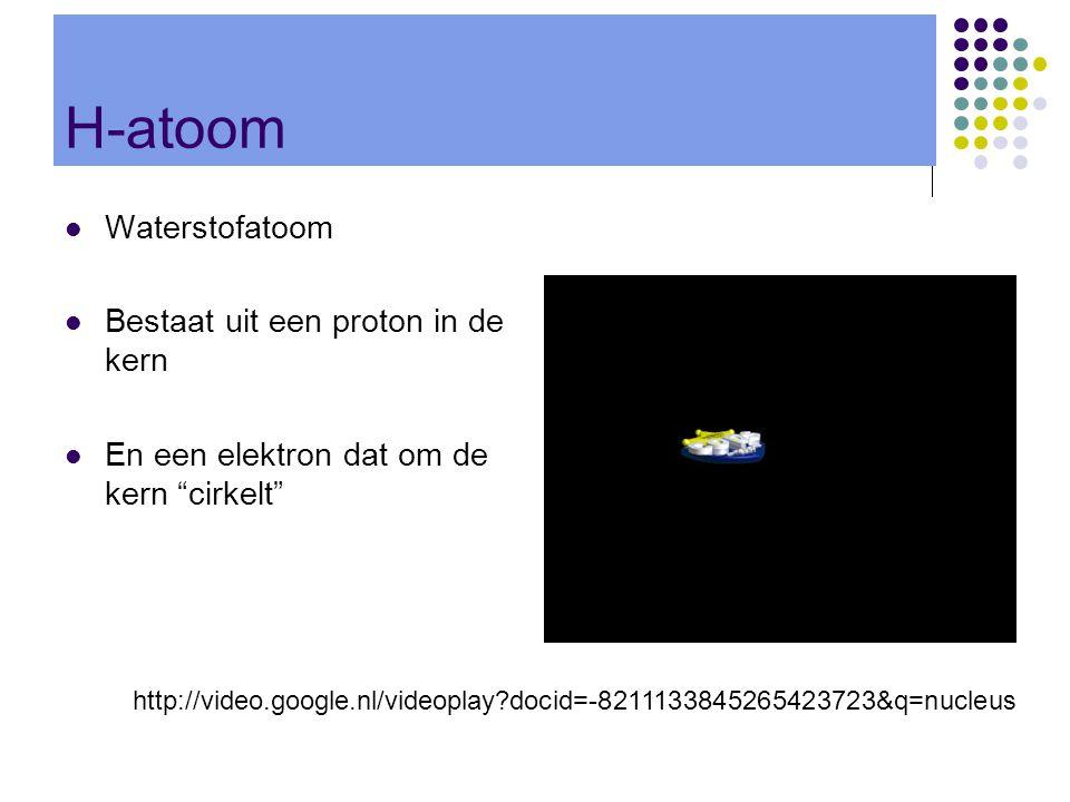 """H-atoom  Waterstofatoom  Bestaat uit een proton in de kern  En een elektron dat om de kern """"cirkelt"""" http://video.google.nl/videoplay?docid=-821113"""