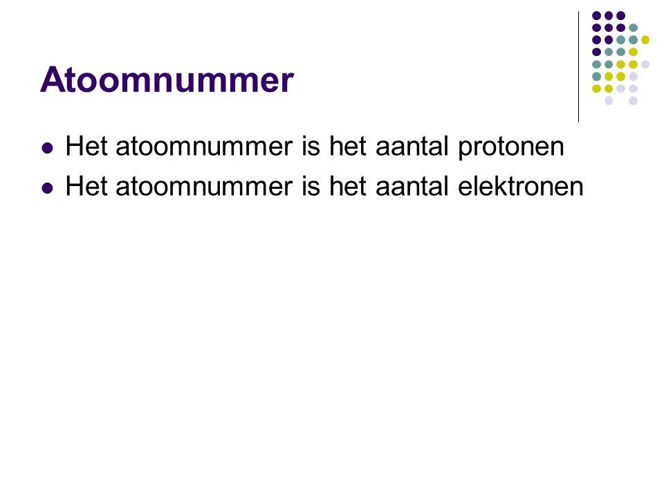 Atoomnummer  Het atoomnummer is het aantal protonen  Het atoomnummer is het aantal elektronen